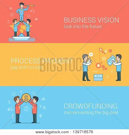 Businessmen Spyglass Money Linear Flat business vector concepts