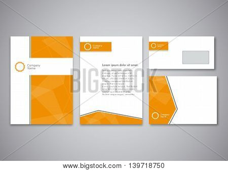 Orange corporate identity template. Vector company style for brandbook and guideline. EPS 10