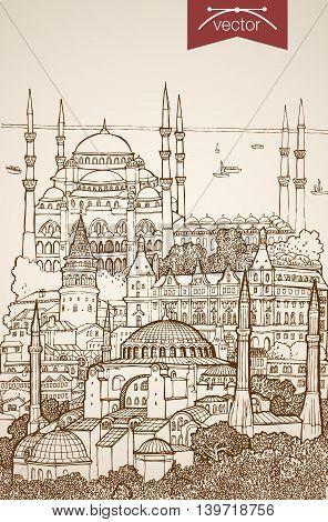 Engraving vintage hand drawn vector Turkey Istanbul Sketch