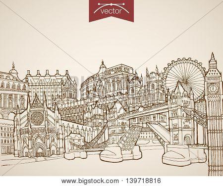 Engraving vintage hand drawn vector United Kingdom London Sketch