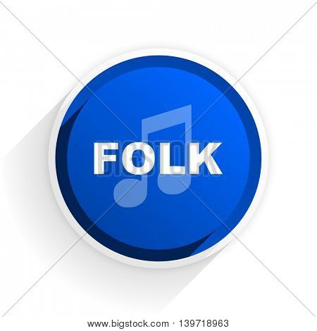 folk music flat icon with shadow on white background, blue modern design web element