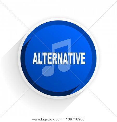 alternative music flat icon with shadow on white background, blue modern design web element