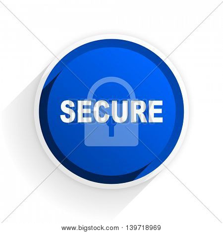 secure flat icon with shadow on white background, blue modern design web element