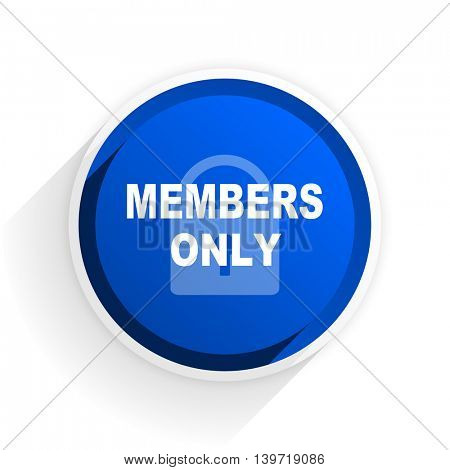 members only flat icon with shadow on white background, blue modern design web element