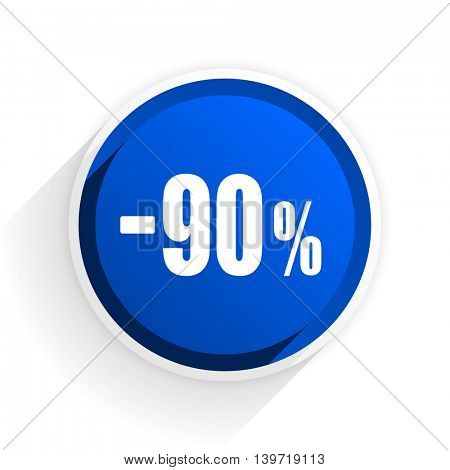 90 percent sale retail flat icon with shadow on white background, blue modern design web element