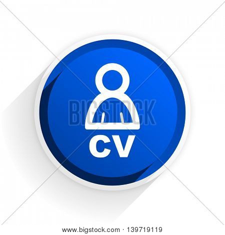 cv flat icon with shadow on white background, blue modern design web element