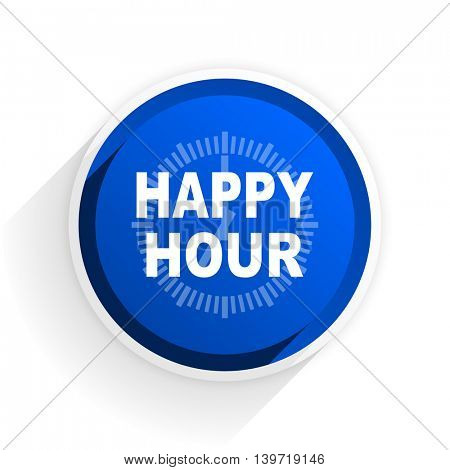 happy hour flat icon with shadow on white background, blue modern design web element