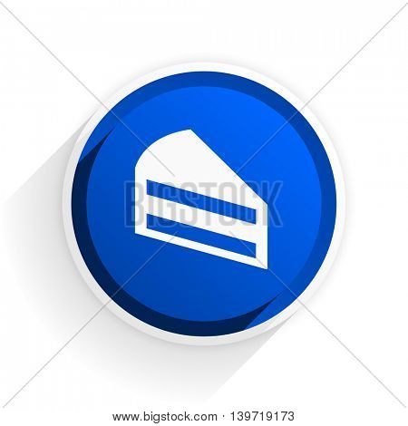 cake flat icon with shadow on white background, blue modern design web element