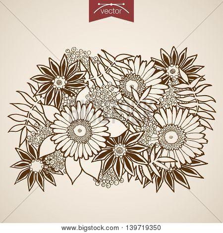 Engraving vintage hand drawn vector Flower shop bouquet Sketch.