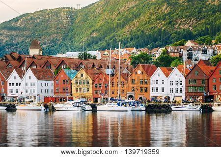 Bergen Norway - August 3 2014: View of historical architecture Bryggen in Bergen Norway. UNESCO World Heritage Site