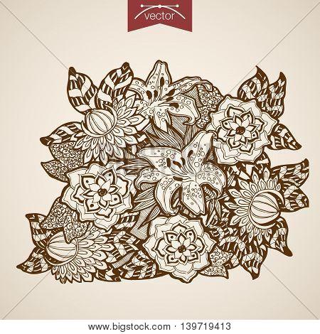 Engraving vintage hand drawn vector flower shop floristic Sketch