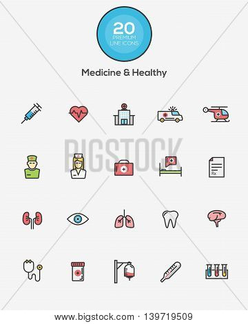 Set of Flat Line Color Medicine and Healthy icons. Vector