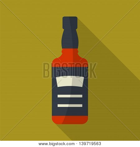 Whiskey bottle square flat icon with long shadows. Serving alcohol. Simple flat vector.