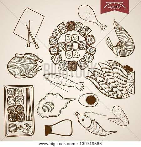 Engraving vintage hand drawn vector sushi meat egg snack Sketch
