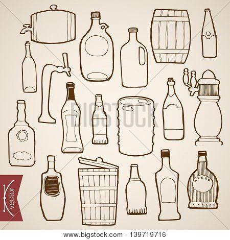 Engraving vintage hand drawn vector bottle wood cask Sketch