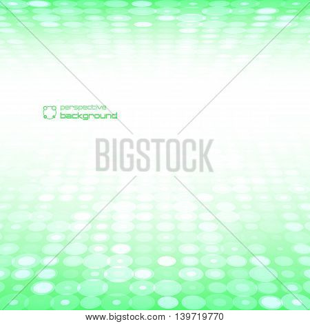 Abstract green perspective background. Vector illustration. Used to design postcards advertising.