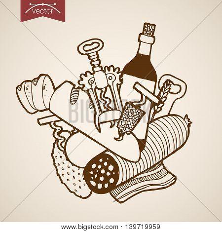 Engraving vintage hand drawn vector snack food wine Sketch