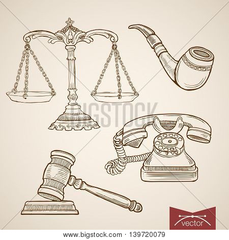 Engraving vintage hand drawn vector law detective justice Sketch
