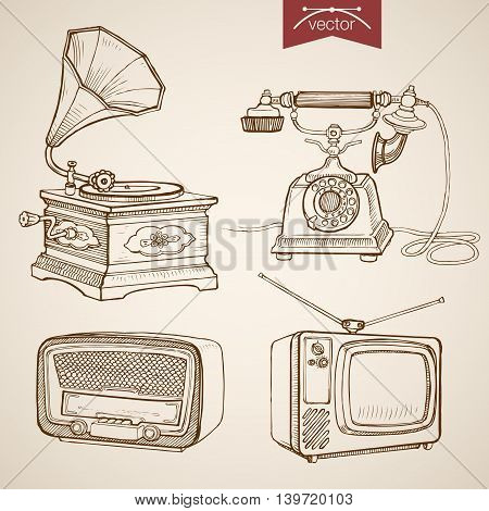 Engraving vintage hand drawn vector Gramophone Radio TV Sketch