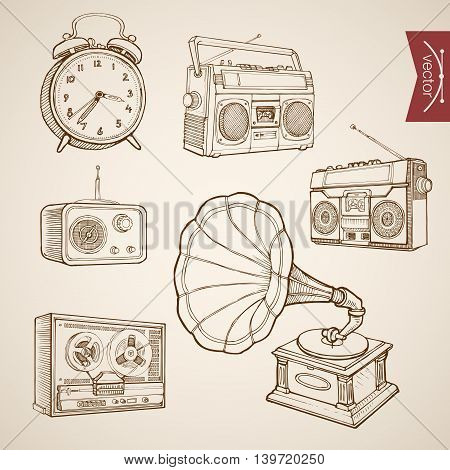 Engraving vintage drawn vector music sound Tape Radio Sketch