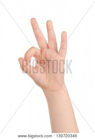 Child hand isolated on white