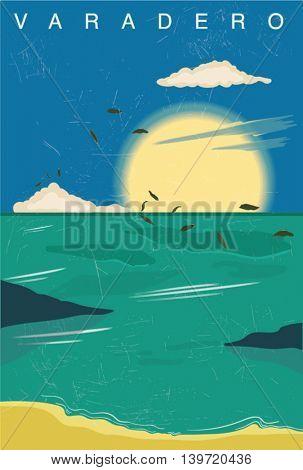simple vector nature poster. sand, beach, sun, cloud,palm illustration.