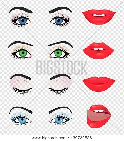 Beauty female eye and lip isolated on transparent background Vector illustration fashion design Girl face detail Beautiful makeup cosmetic Sexy pretty women lady Mouth eyebrow smile brow logo icon set