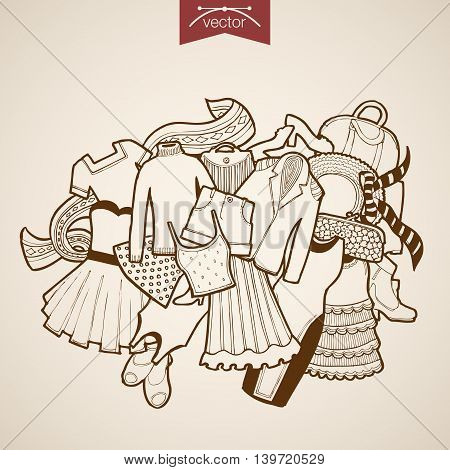 Engraving vintage drawn vector dress skirt bag clothes Sketch