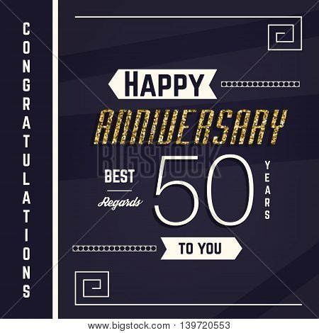 50th anniversary decorated greeting card template with gold elements.