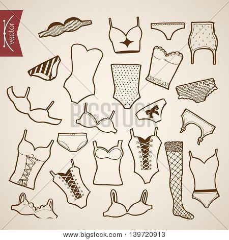 Engraving vintage hand drawn vector underwear clothes Sketch