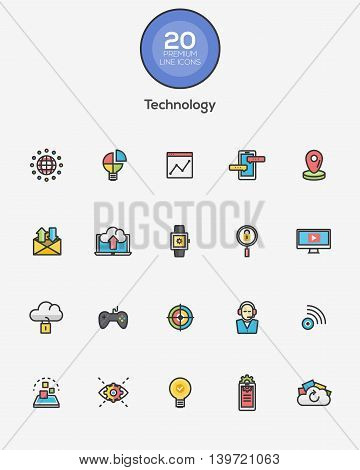 Set of Flat Line Color Technology icons. Vector