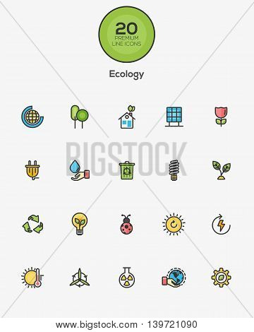 Set of Flat Line Color Ecology icons. Vector