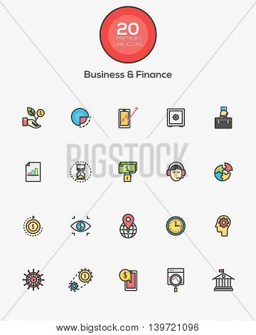 Set of Flat Line Color Business and Finance icons. Vector