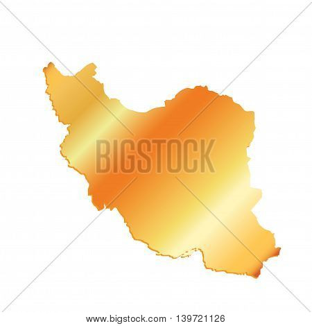 3D Iran Gold outline map with shadow, vector