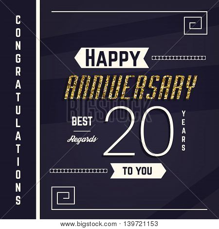 20th anniversary decorated greeting card template with gold elements.
