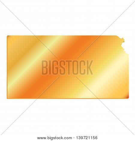 3D Kansas State USA Gold outline map