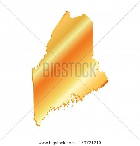 3D Maine (USA) Gold Boundary map with shadow, vector
