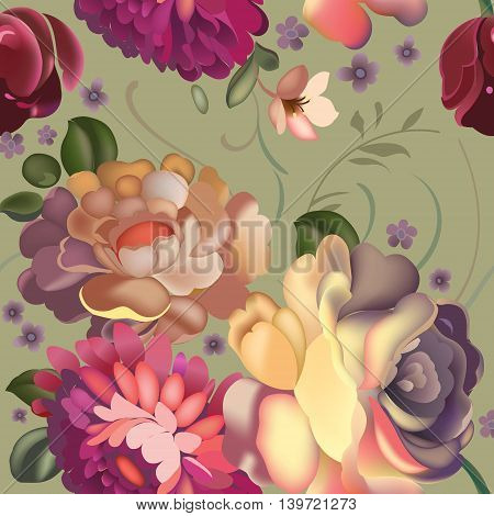Floral textile seamless pattern with beautiful vintage flowers. Vector illustration.
