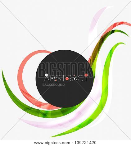 Abstract line background - color curve stripes in motion concept and with light and shadow effects. Presentation banner and business card message design template