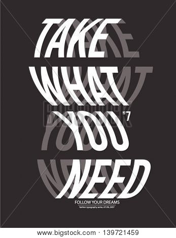 take what you need poster warp effect.Vector illustration 2