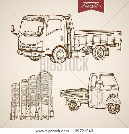 Engraving vintage hand drawn vector pickup silos concrete Sketch