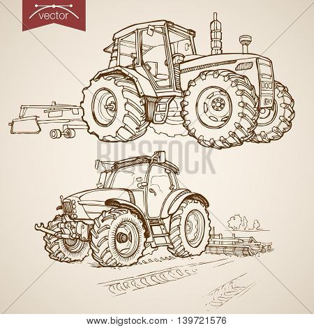 Engraving vintage hand drawn vector tractor Farm Sketch