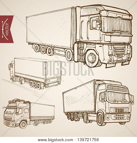 Engraving vintage hand drawn vector delivery transport Sketch
