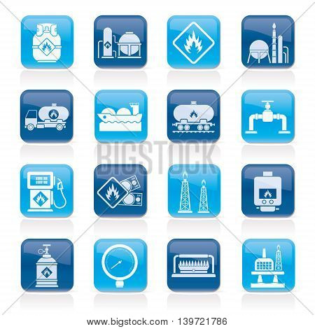 Natural gas fuel and energy industry icons  - vector icon set