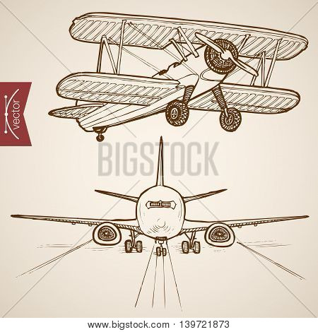 Engraving vintage hand drawn vector Air transport plane Sketch