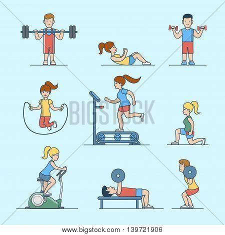 Linear Flat Sport health life website Woman man exercise vector