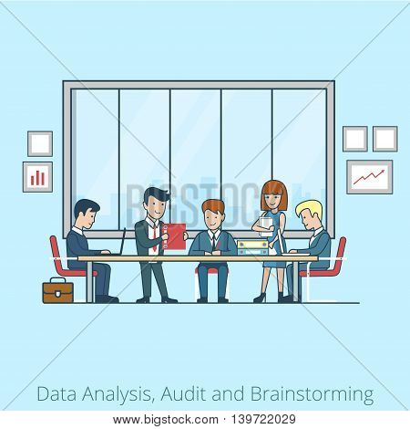 Analysis Audit brainstorming Business people Linear Flat vector
