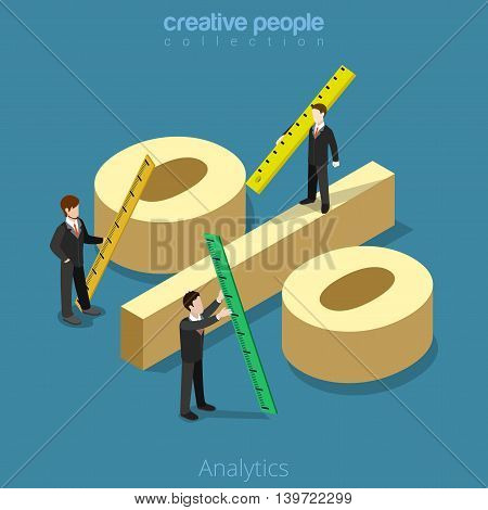 Analytics 3d Flat isometric man measure percentage sign vector