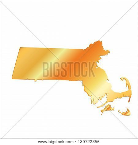 3D Massachussets (USA) Gold Boundary map with shadow, vector