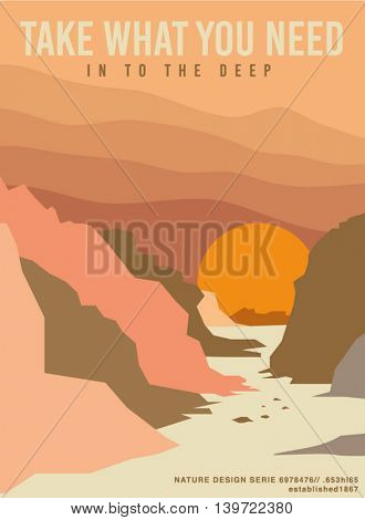 simple vector nature poster. sand, desert, canyon, illustration.